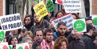 Manifestación de miembros de la PAH - Foto: Raúl Fernández