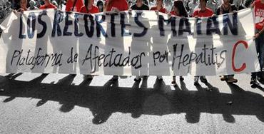 Manifestación de los afectados por la Hepatitis C