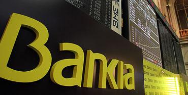 Logotipo de Bankia en la Bolsa de Madrid