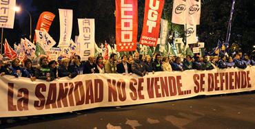 Manifestación de miembros del sector sanitario