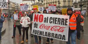 Manifestación de los trabajadores de Coca-Cola