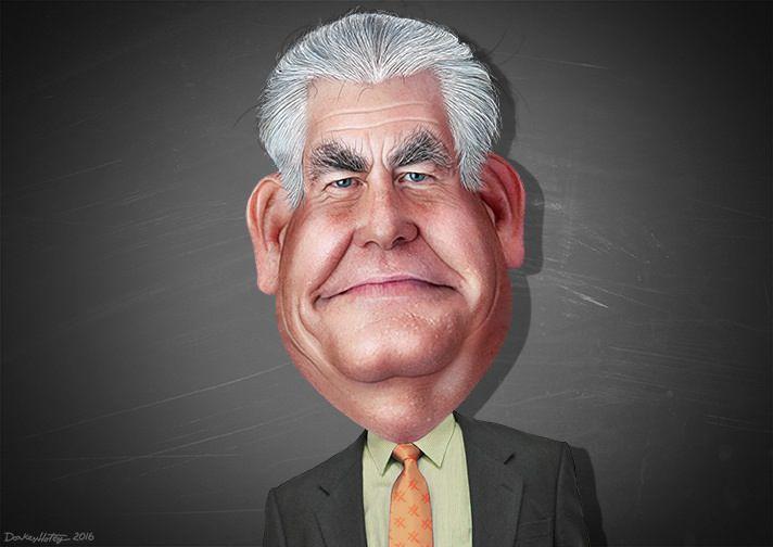 Caricatura de Rex Tillerson