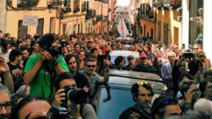 Acto por el derecho a decidir en Madrid.