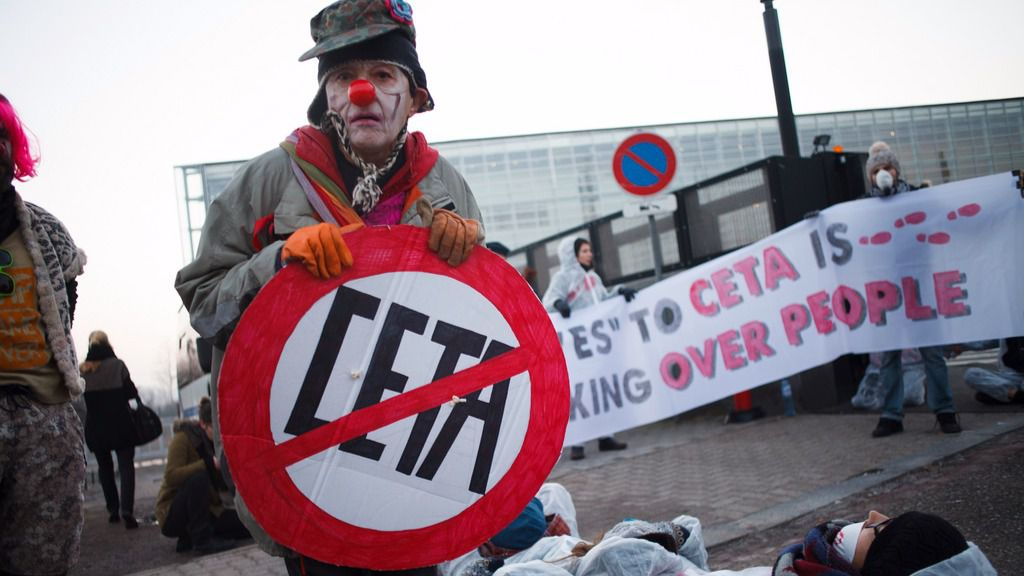 Manifestación contra el CETA en Estrasburgo.