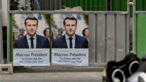Cartel de Emmanuel Macron, presidente de Francia
