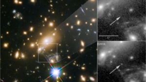 Imagen a color del cúmulo MACS J1149+2223 observado por el telescopio Hubble. A la derecha, se muestra la zona del cielo tomada en 2011 donde no se ve la estrella Ícaro, comparada con la imagen de 2016 donde se aprecia claramente esta supergigante azul