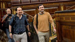 Pablo Iglesias, secretario general de Podemos y Alberto Garzón, diputado en el Congreso por Unidos Podemos