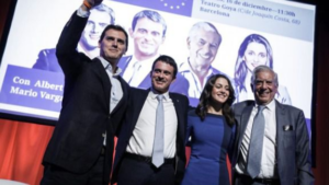 Albert Rivera e Inés Arrimadas con Manuel Valls y Mario Vargas Llosa.