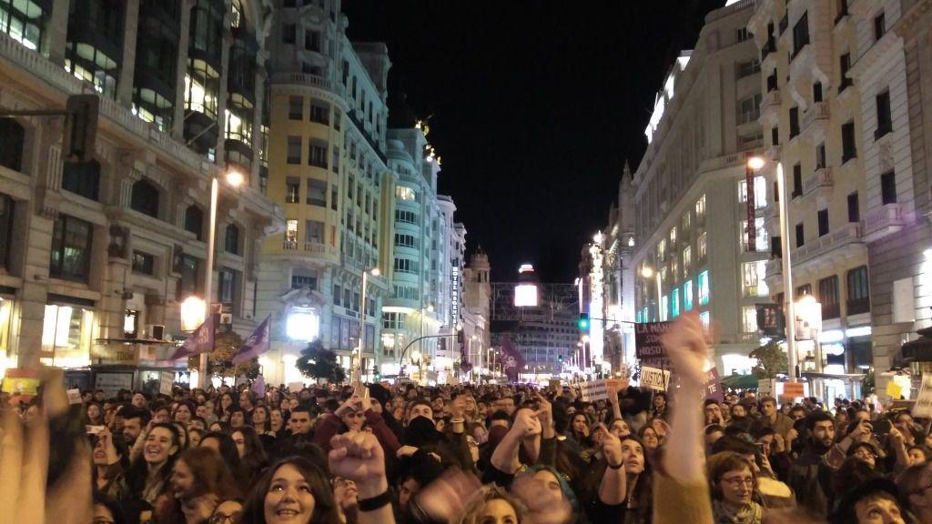 Manifestación contra la violencia sexual contra las mujeres