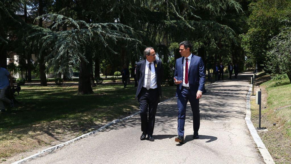 El presidente del Gobierno, Pedro Sánchez, y el presidente de la Generalitat, Quim Torra, en La Moncloa.