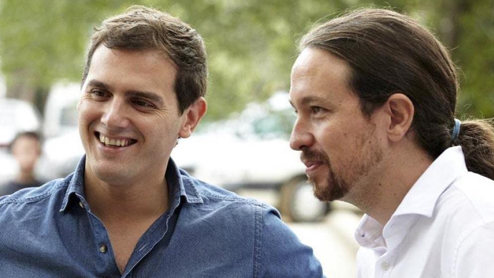 Pablo Iglesias, secretario general de Podemos y Albert Rivera, presidente de Ciudadanos
