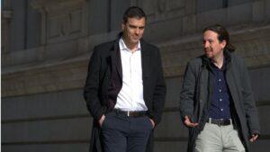 Pedro Sánchez, secretario general del PSOE con Pablo Iglesias, líder de Podemos