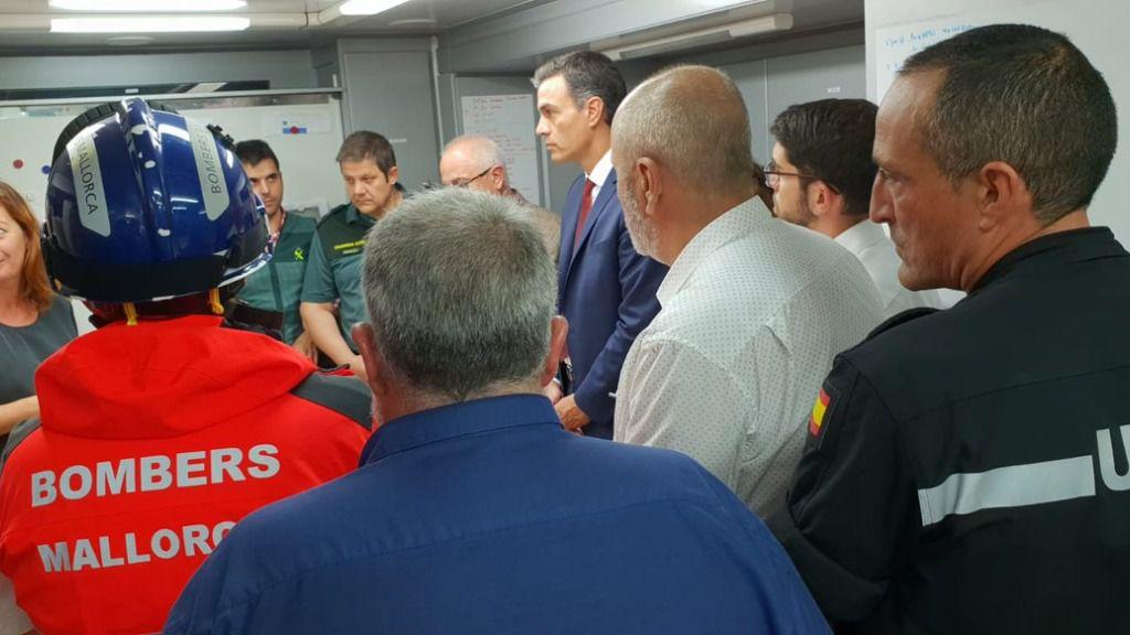 Pedro Sánchez en Mallorca evaluando los daños por la tromba de agua