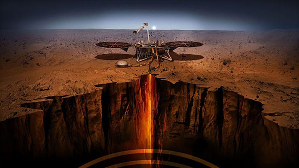 Ilustración del módulo de aterrizaje InSight investigando las profundidades de Marte