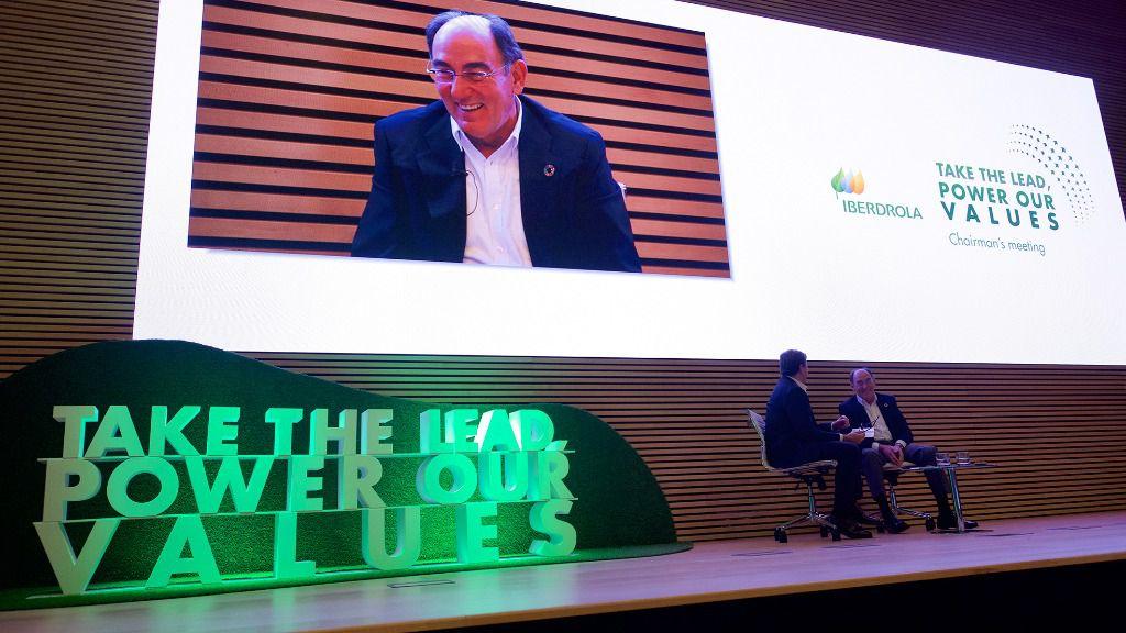El presidente de Iberdrola, Ignacio Galán, en el encuentro con empleados