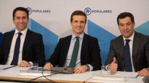Pablo Casado, Teodoro García y Juanma Moreno