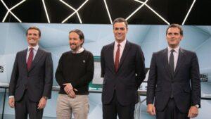 Pedro Sánchez, Pablo Casado, Pablo Iglesias y Albert Rivera