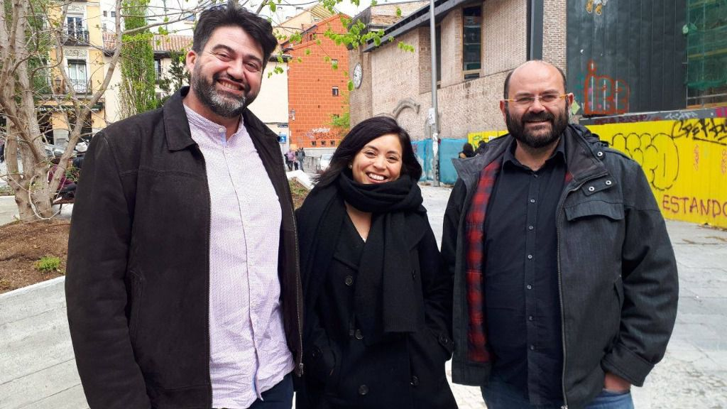 Carlos Sánchez Mato, Rommy Arce y Pablo Carmona, número uno, dos y tres, respectivamente, de la lista de Madrid en Pie Municipalista