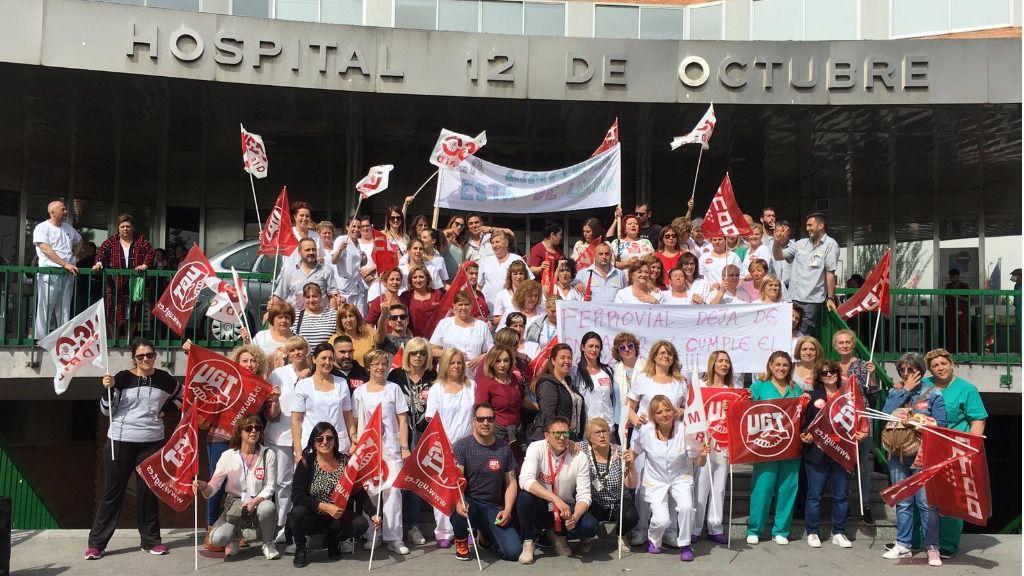 El personal de limpieza del Hospital 12 de Octubre en una de las manifestaciones que han celebrado esta semana