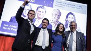 Albert Rivera e Inés Arrimadas con Manuel Valls y Vargas LLosa.