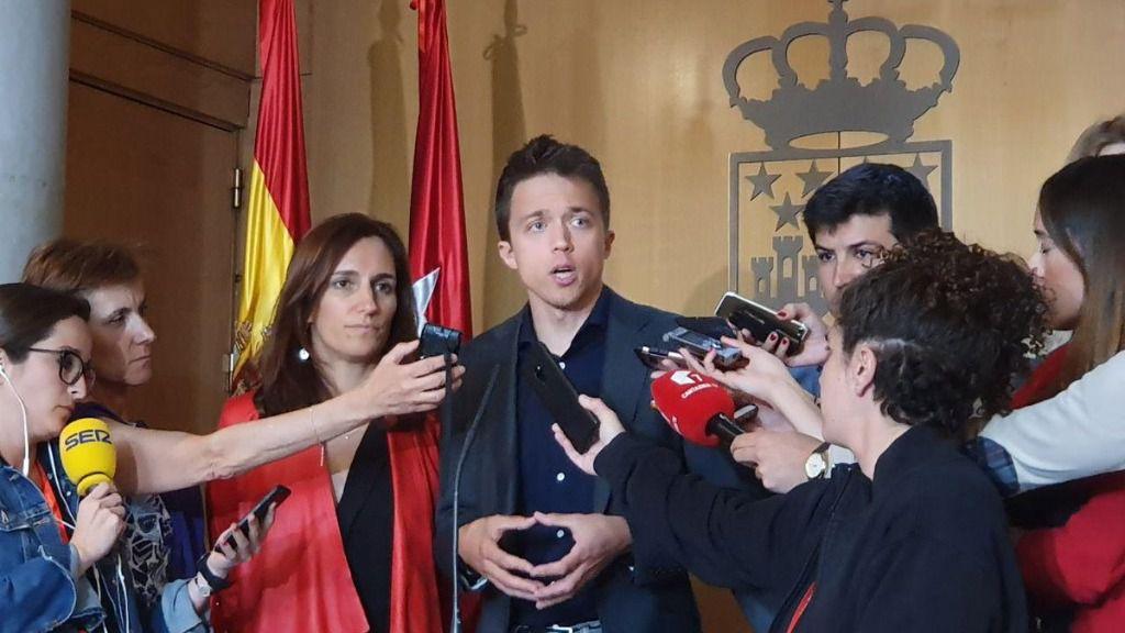 Íñigo Errejón, portavoz de Más Madrid, y Mónica García, portavoz adjunta de Más Madrid