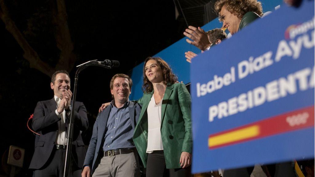 Isabel Díaz Ayuso, candidata del PP de la Comunidad de Madrid, en la noche electoral