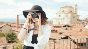 Turista viaje camara foto