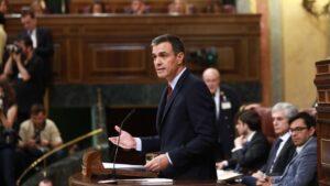 Pedro Sánchez, presidente del Gobierno en funciones, durante su discurso de Investidura