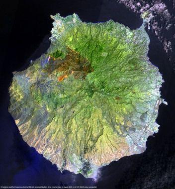Imagen del incendio tomada por el satélite Sentinel 2 del Programa Europeo de Emergencias Copernicus y modificada por la Agencia Espacial Europea (ESA)