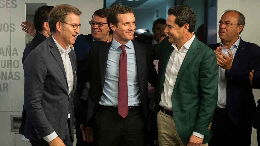 Pablo Casado, Alberto Núñez Feijóo y Juan Manuel Moreno