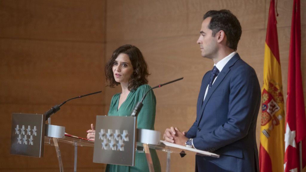 Isabel Díaz Ayuso, presidenta de la Comunidad de Madrid, junto a su vicepresidente Aguado