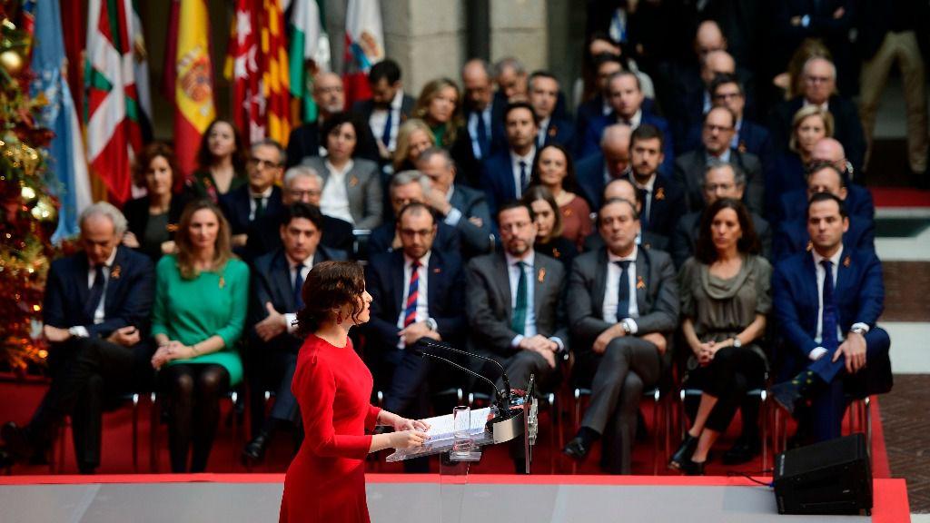 Isabel Díaz Ayuso, presidenta de la Comunidad de Madrid, en el acto de homenaje a la Constitución