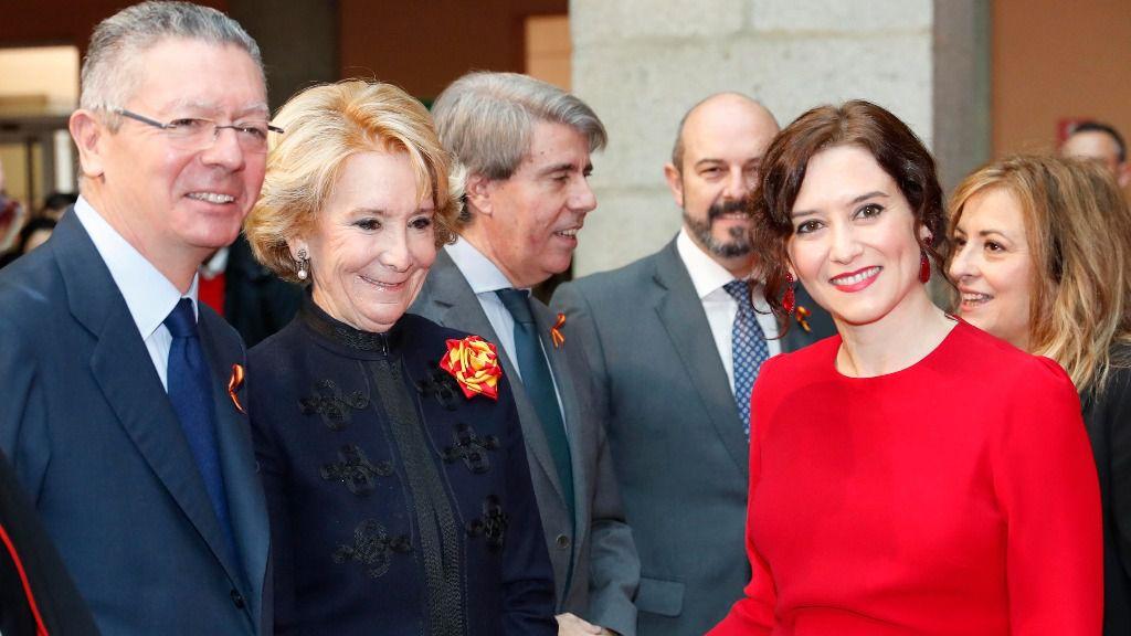 Isabel Díaz Ayuso junto a Esperanza Aguirre, Ángel Garrido y Alberto Ruiz-Gallardón