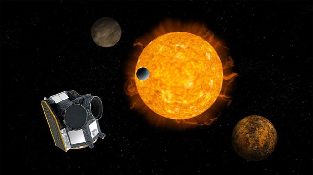 Ilustración del satélite Cheops caracterizando exoplanetas que transitan por delante de una estrella
