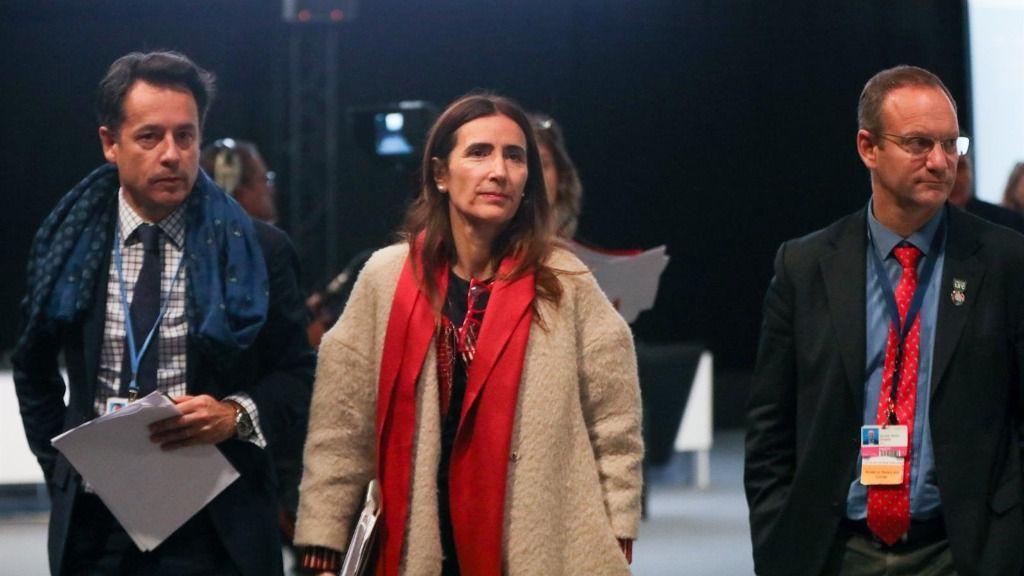 La presidenta de la COP25, Carolina Schmidt, en el plenario de la mañana del sábado en la Cumbre del Clima, en Madrid (España) a 14 de diciembre de 2019