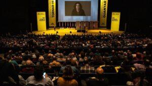 Marta Rovira interviene por videoconferencia en el Congrés Nacional d'ERC el 21 de diciembre de 2019