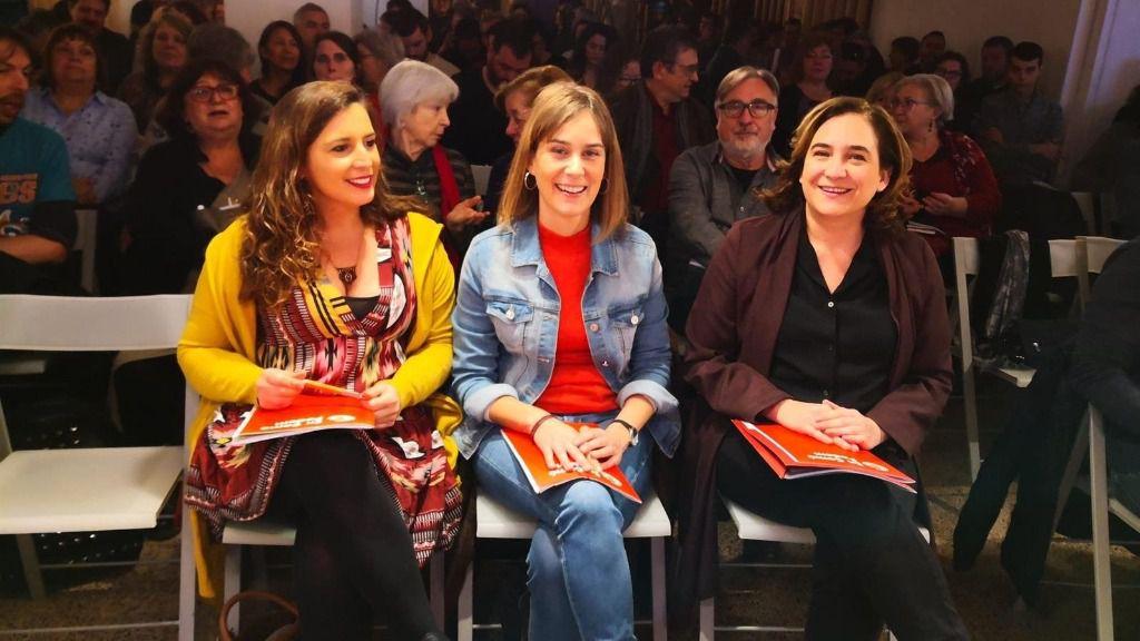 Candela López, Jéssica Albiach y Ada Colau en el Consell Nacional de los Comuns