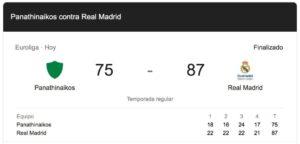 Panathinaikos 75-87 Real Madrid
