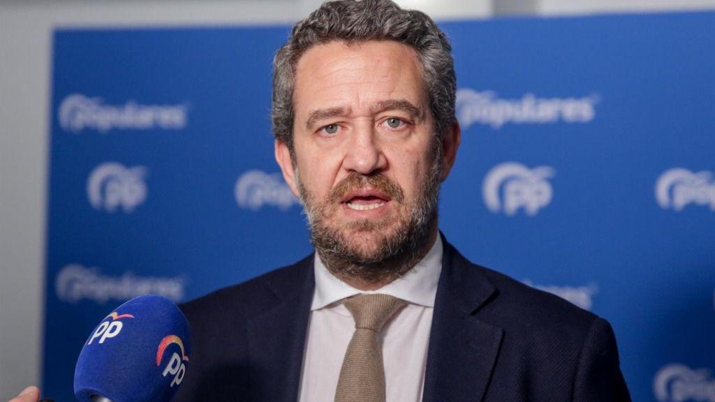 El vicesecretario de Participación del PP, Jaime de Olano, atiende a los medios de comunicación para valorar la situación política en la sede del PP en Madrid a 28 de diciembre de 2019