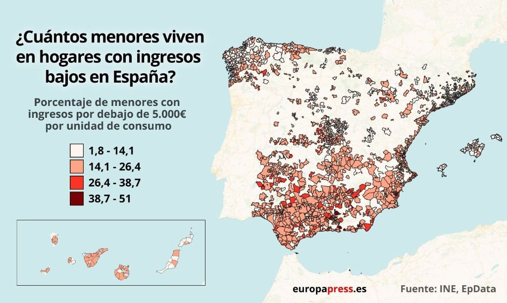 Mapa de España según menores que viven en hogares con bajos ingresos