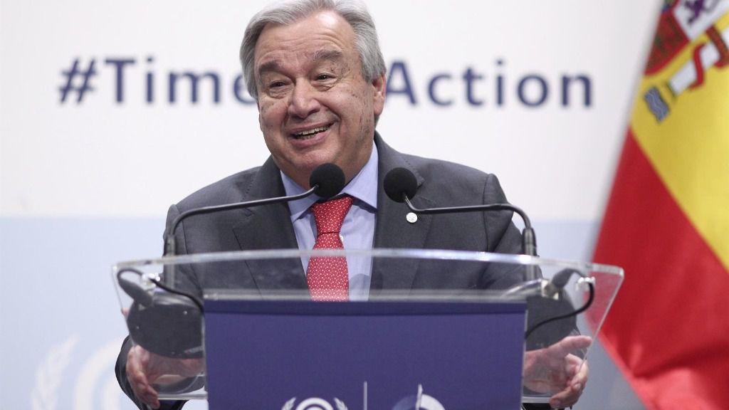 El secretario general de Naciones Unidas, Antonio Guterres, ofrece una rueda de prensa durante la primera jornada de la Conferencia de Naciones Unidas sobre el Cambio Climático (COP25), en Madrid (España), a 2 de diciembre de 2019