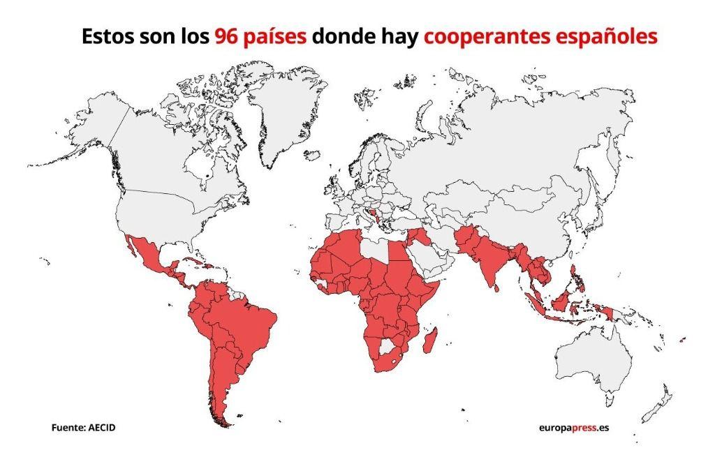 Mapa de los países en los que están destinados los cooperantes españoles en 2019