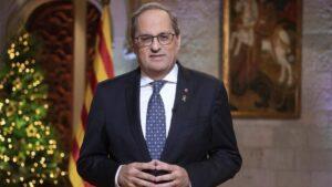 El presidente de la Generalitat, Quim Torra, en su mensaje institucional de Fin de Año, el 30 de diciembre de 2019 en el Palau de la Generalitat de Catalunya, en Barcelona