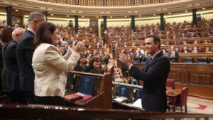 El presidente de Gobierno en funciones, Pedro Sánchez, es aplaudido por su compañeros del PSOE