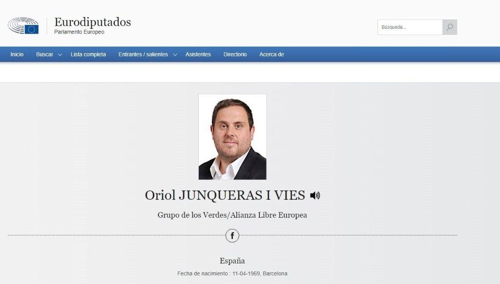 Perfil del exvicepresident y líder de ERC, Oriol Junqueras, en la web del Parlamento Europeo