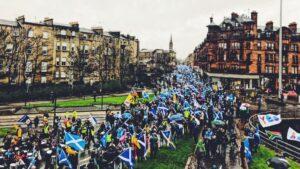 Manifestación independentista en Glasgow