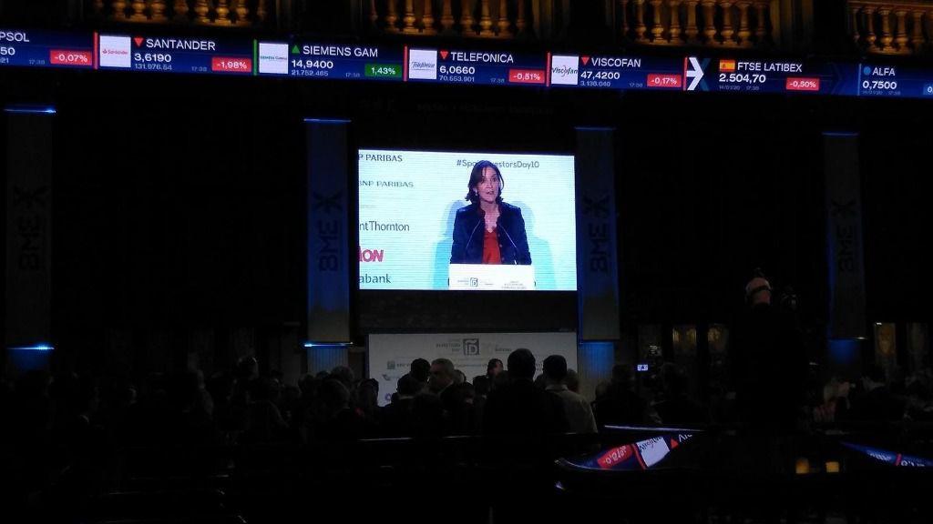 ministra de Industria, Comercio y Turismo, Reyes Maroto, durante su intervención en el 'Spain Investors Day'