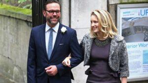 James Murdoch y su esposa Kathryn en Londres en 2016
