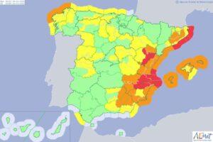 Mapa de España con las alertas meteorológicas para el lunes 20 de enero de 2020