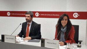 Joan Canadell y Mònica Roca, en la Cambra de Barcelona